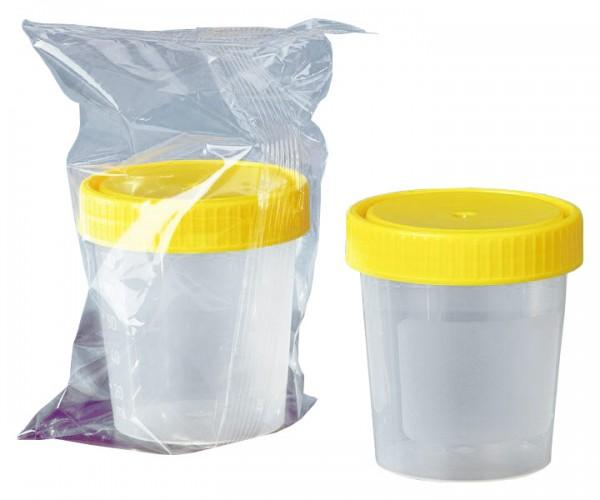 Urinbecher gelber Schraubdeckel