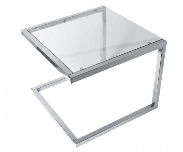 Eckiger Beistelltisch aus Glas